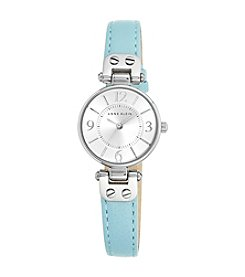 Anne Klein® Light Blue Leather Silvertone Petite Strap Watch