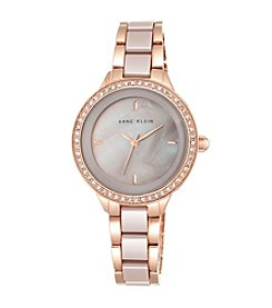 Anne Klein® Rose Goldtone Bracelet Watch with Ceramic Links