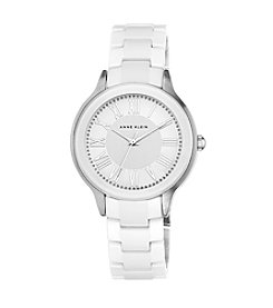 Anne Klein® White Ceramic Watch with Crystal Bezel
