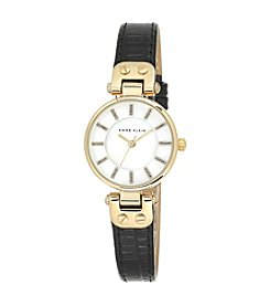 Anne Klein® Black Leather Watch with Glitter Detailed Dial