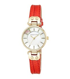 Anne Klein® Red Leather Watch with Glitter Detailed Dial