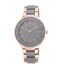 Anne Klein® Rose Goldtone and Grey Center Link Watch