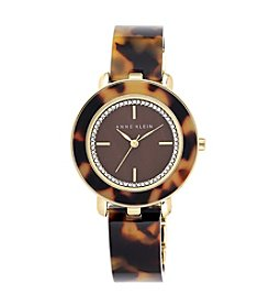 Anne Klein® Tortoise Bangle Watch with Glitter Dial