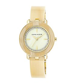 Anne Klein® Horn Bangle Watch with Glitter Dial