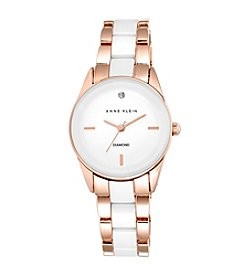 Anne Klein® Rose Goldtone Diamond Dial Ceramic Watch