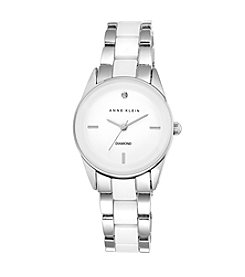 Anne Klein® Silvertone Diamond Dial Ceramic Watch