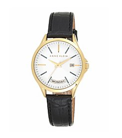 Anne Klein® Black Leather Watch with Day Calendar Detail