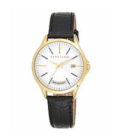 Anne Klein® Black Leather Watch with Day Calendar Detail