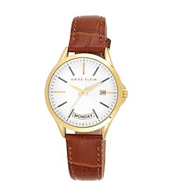 Anne Klein® Honey Leather Watch with Day Calendar Detail