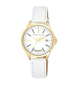 Anne Klein® White Leather Watch with Day Calendar Detail