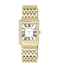 Anne Klein® Goldtone Square Crystal Bracelet Watch