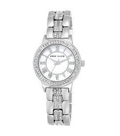 Anne Klein® Silvertone Crystal Bracelet Watch