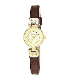 Anne Klein® Goldtone Mini Leather Strap Watch