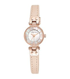 Anne Klein® Rose Goldtone Mini Leather Strap Watch
