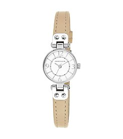 Anne Klein® Silvertone Mini Leather Strap Watch