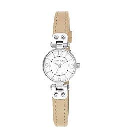 Anne Klein® Silvertone Mini Leather Strap Watch