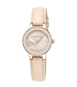 Anne Klein® Blush Genuine Leather Strap Watch