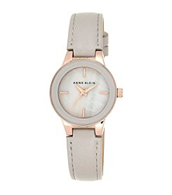 Anne Klein® Taupe Genuine Leather Strap Watch
