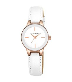 Anne Klein® White Genuine Leather Strap Watch