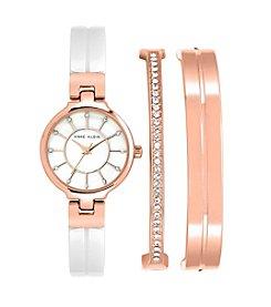 Anne Klein® Rose Goldtone Enamel Crystal Bangle Watch Set
