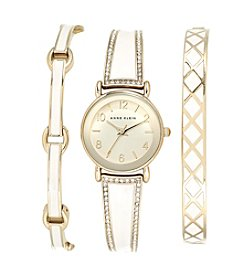 Anne Klein® Goldtone and Enamel Watch Set