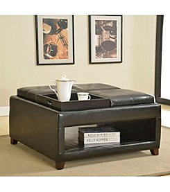 Acme Gosse Dark Brown Oversized Ottoman with Trays