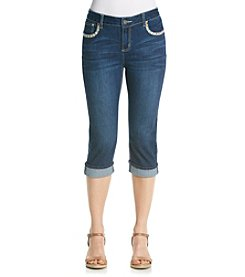 Earl Jean® Petites' Border Stitch Patch Pocket Capri
