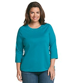 Studio Works® Plus Size 3/4 Sleeve Embellished Tee