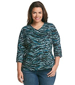Studio Works® Plus Size 3/4 Sleeve Wild Ones Print Tee