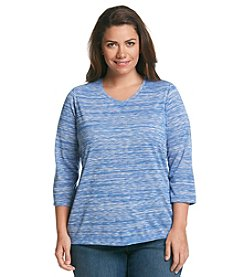 Studio Works® Plus Size 3/4 Sleeve Space Dye Tee