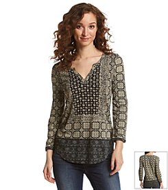 Lucky Brand® Patterned V-Neck Top
