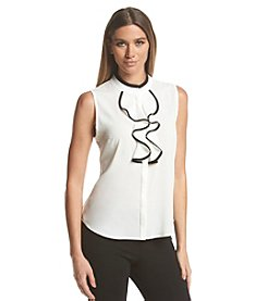 Calvin Klein Sleeveless Ruffle Blouse