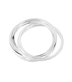 Robert Lee Morris Soho™ Interlinked Flat Silvertone Bangle Bracelets