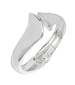Robert Lee Morris Soho® Sculptural Bypass Hinged Silvertone Bangle Bracelet