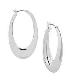 Robert Lee Morris Soho™ Sculptural Oval Hoop Silvertone Earrings