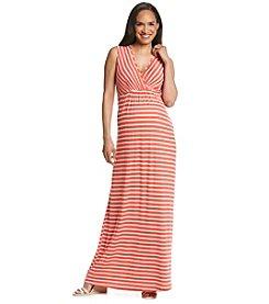 Three Seasons Maternity™ Sleeveless Surplice Stripe Maxi Dress