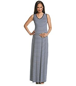 Three Seasons Maternity™ V-neck Stripe Knit Maxi Tank Dress
