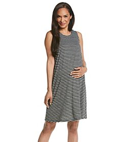Three Seasons Maternity™ Sleeveless Stripe Knit Trapeze Dress