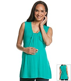 Three Seasons Maternity™ Sleeveless Solid Knit Drapeneck Top