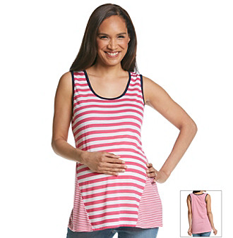 Three Seasons Maternity™ Contrast Stripe Tipped Tank plus size,  plus size fashion plus size appare
