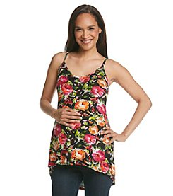 Three Seasons Maternity™ Floral Knit High-Low Hem Tank