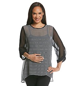 Three Seasons Maternity™ Sheer Solid & Stripe Roll Sleeve Top