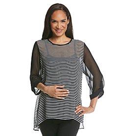 Three Seasons Maternity™ Sheer Solid & Stripe Roll Sleeve Top