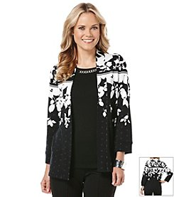 Rafaella® Graphic Garden Open Cardigan