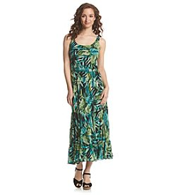 Kasper® Tiered Palm Printed Maxi Dress