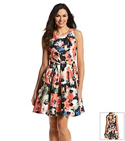 Julian Taylor Floral Cutout Fit And Flare Dress