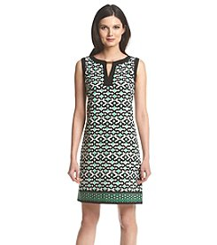 London Times® Printed Keyhole Dress
