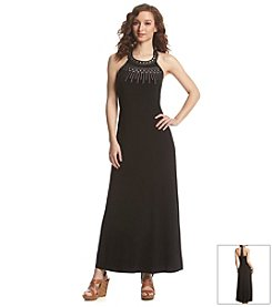 Lennie Embellished Halter Maxi Dress