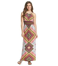 London Times® Petites' Geo Print Halter Maxi Dress