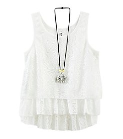 Beautees Girls' 7-16 High-Low Double Tier Lace Top